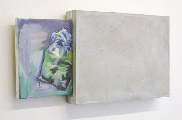 Daan den Houter - Schilderij in beton - 25x52cm Oliverf op doek en beton