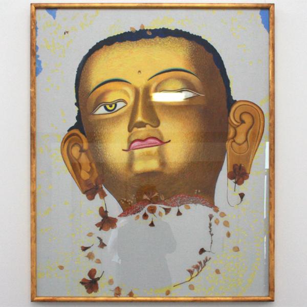 Daan van Golden - Budda - 114x92cm Tempera en bloemen op canvas op paneel