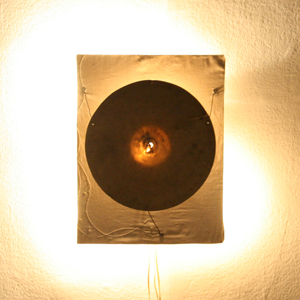 Dick Verdult - Bekkenlamp - 45x35x13cm Hout, canvas, cymbal en ledverlichting