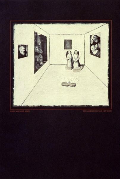 Dick van Berkum - Hugo van der Goes, The Adoration of the Child, in a White Cube - 20x30cm, Olieverf op zwart-wit reproductie, 1993