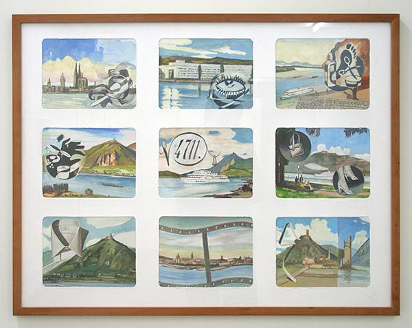 Diederik Gerlach - Rhein Leporello - 9 maal 17x23cm Gouache op papier
