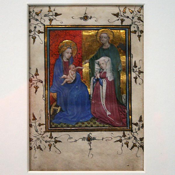 Doornik - Maria met kind, Stichteres en de heilige Agnes - Perkament
