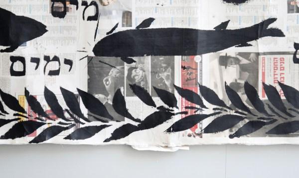 Eli Content - Schepping van de Mens - Acrylverf op krantenpapier (detail)