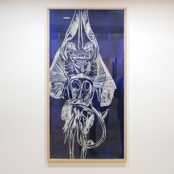Erik Andriesse - Gitaarvis - 140x70cm Houtsnede, inkt op papier
