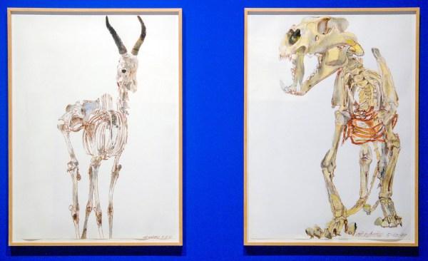 Erik Andriesse - Springbok & Leeuw - Gemengde techniek op papier, 1989