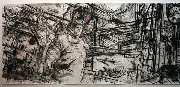 Erik van Lieshout - Contact - 150x533cm Contekrijt en mixed media op papier