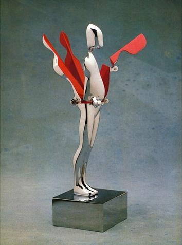 Ernest Trova - Study, Falling Man (Five-Hinged Flowerman) - Chroom gepattineerd brons en emaile