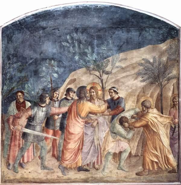 Fra Angelico - Kus van Judas - Fresco