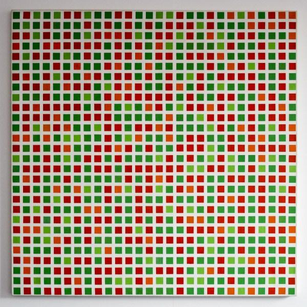 Francois Morellet - Repartition aleatoire de carres 40 rouges, 40 verts, 10 oranges, 10 verts clairs - Olieverf op doek, 1971