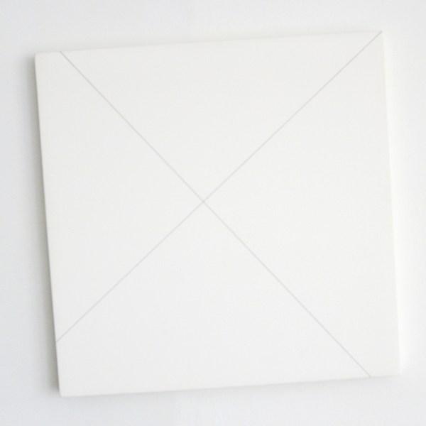 Francois Morellet - Tableau 5 - 95 avex les deux diagonales d'un carre 0 - 90 - Acrylverf op hout, 1980