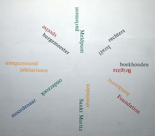 GJ de Rook - 18 words randomly chosen, coloured and positioned, de Volkskrant & De Telegraaf 17 March 2012