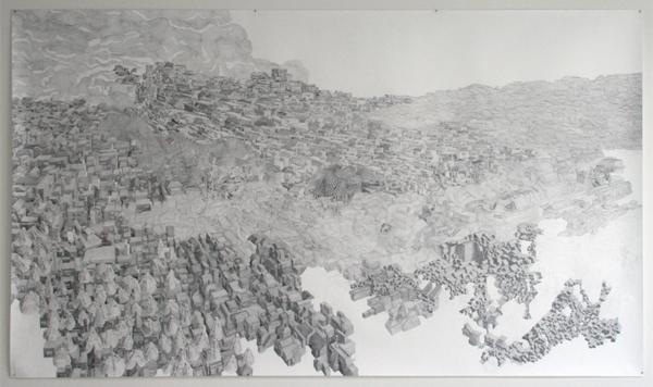 Georg Bohle - City 19 - 150x255cm Fineliner en potlood op papier