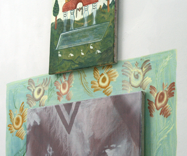 Gijs Frieling - Kleine Ganzen Tempel & Stenen Kachel - 40x50cm & 70x120cm Caseine en pigmenten op linnen & op muur (detail)