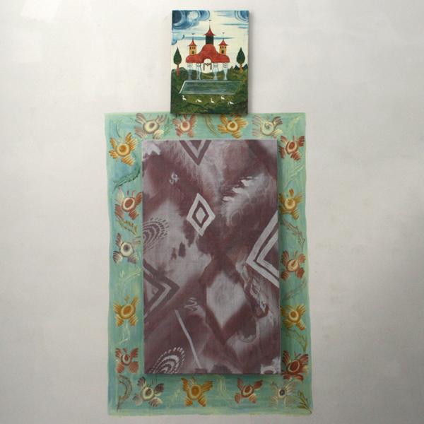 Gijs Frieling - Kleine Ganzen Tempel & Stenen Kachel - 40x50cm & 70x120cm Caseine en pigmenten op linnen & op muur