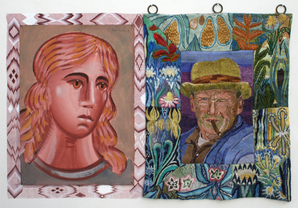Gijs Frieling - Ludivic's Engel & Ludivic Maissen - 30x40cm & 38x50cm Caseine en pigmenten op papier en Boorduursel