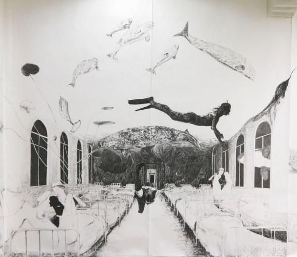 Helene de Winter - Zonder Titel - 300x300cm houtskool en grafiet op papier