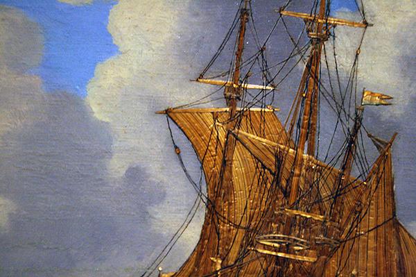 Hendrik Pronck - Het Schip De Bul - Stro en olieverf op paneel, voor 1693 (detail)