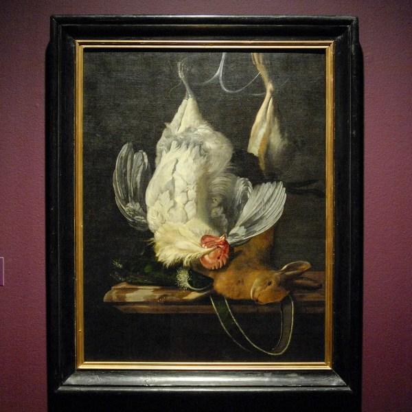 Henri de Fromantiou - Stilleven met witte haan en haas - Olieverf op doek