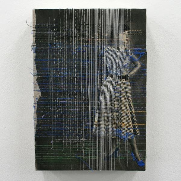Hinke Schreuders - Works on paper #33 - 26x18x6cm Garen op papier op doek