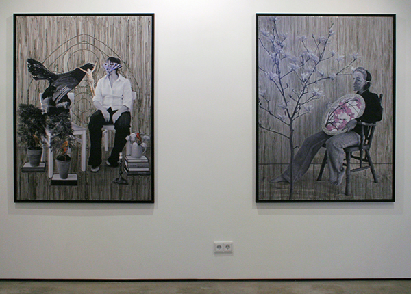 Isi Kunath - Archiv no 14,2012,P,L; Thinking about a romantic tragedy & Archiv no 18,2012,P,L; Walk inside my dessert - 154x114cm Mixed Media op foto