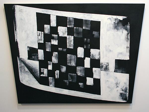 JCJ Vanderheyden - Checkerboard on Monitor - 132x182cm Acrylverf op doek