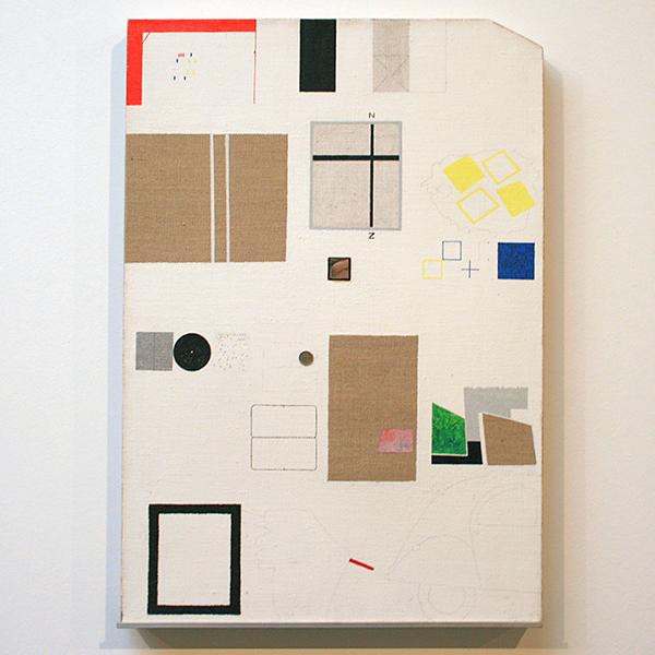 JCJ Vanderheyden - Zonder Titel (Remake Expositie) - 66x46cm Acrylverf, grafiet, spiegeltje en metaal op doek