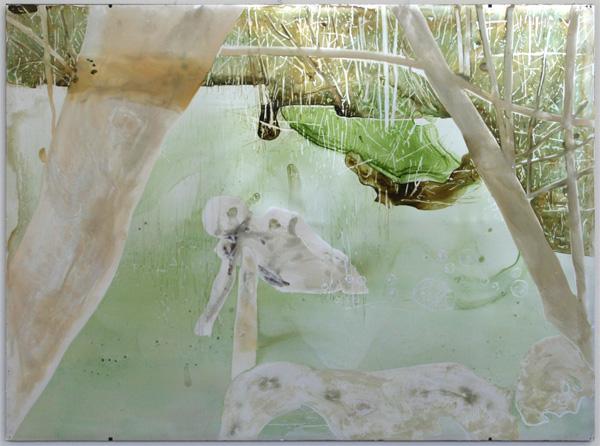 Jaap de Vries - Swamp I -140x190cm Aquarel op aluminium