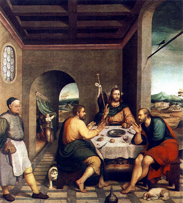 Jacopo Bassano - Supper at Emmaus - 235x250cm Olieverf op canvas 1538