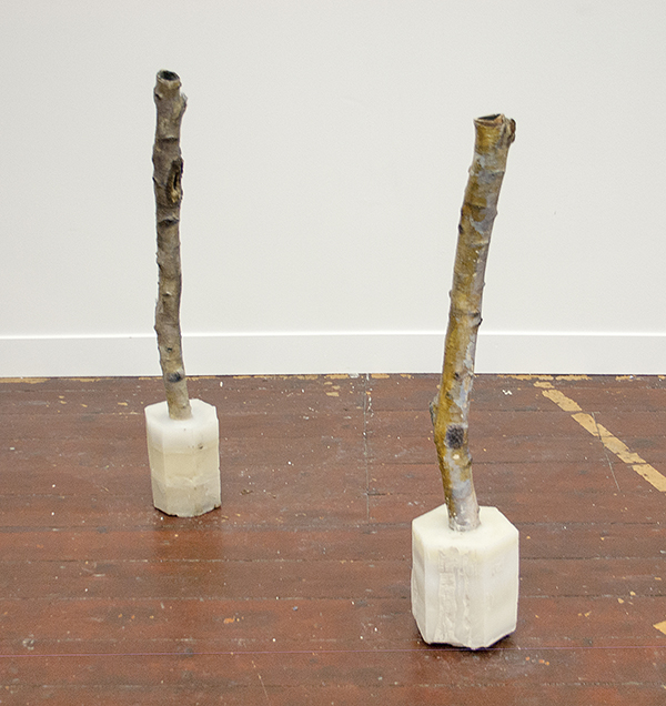 James Krone - Ashtray I & II - 107x17x17cm Beuk, was, zand, latex, cosmetica, olieverf en nepwimpers 2011