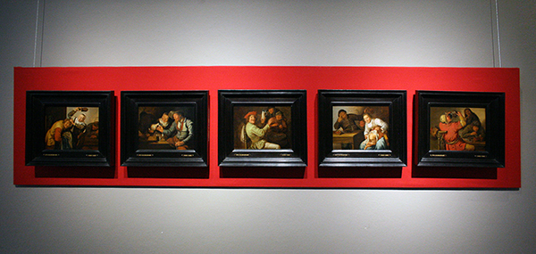 Jan Miense Molenaer - De Vijf Zintuigen (Gevoel, Zicht, Gehoor, Reuk en Smaak) - Olieverf op paneel 1637
