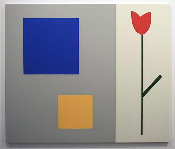 Jan Roeland - Compositie met tak en twee vierkanten - 85x100cm Olieverf op linnen