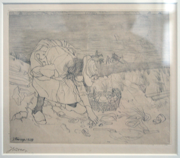 Jan Toorop - Sprokkelend Kind - Droge naald op zink