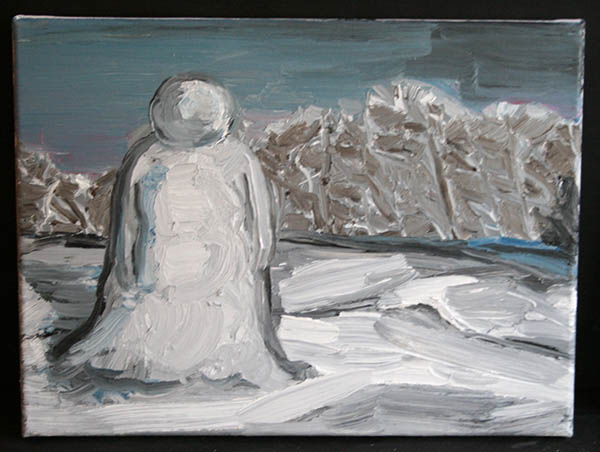 Jan Wattjes - The Snowman - 30x40cm Olieverf op doek