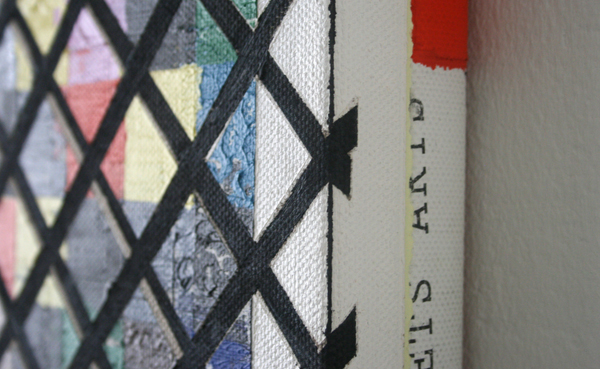 Jan ten Have - Strategy Get Arts - 36x36cm Olieverf, alkydverf, primers, zwavel, tape, printer, bonding pads op linnen, opgespannen dubbel frame (detail)