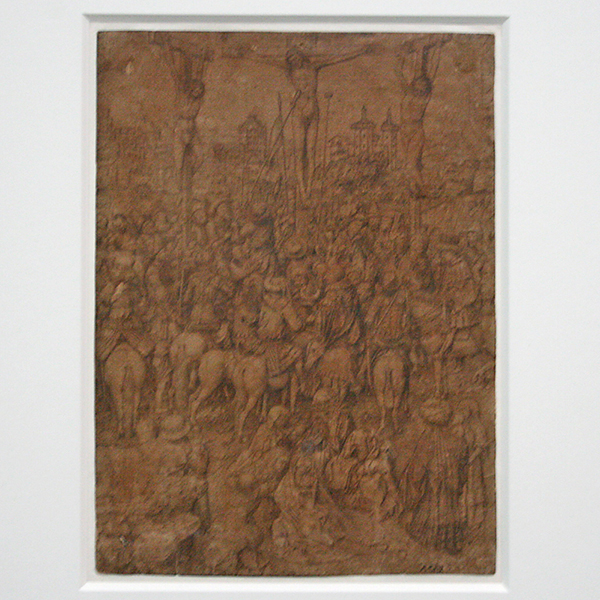 Jan van Eyck (Atelier) - Kruisiging - Goudstift, zilverstift, zwarte inkt en pen op geprepareerd papier