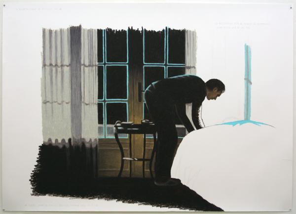 Jans Muskee - Bed - 140x195cm Oliepastel en potlood op papier