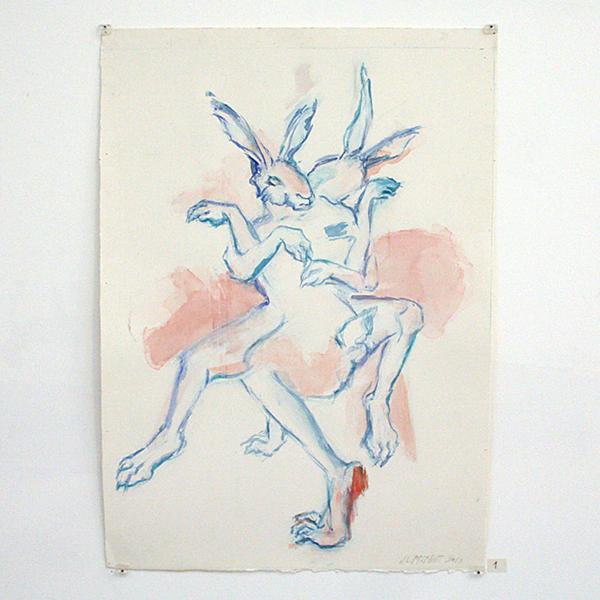 Jenny Lynn McNutt - Snuggle, Struggle, Strangle - 60x43cm Gouache op papier