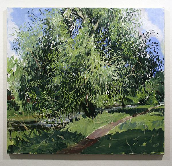 Jim Harris - Die Dreisam (Afternoon) - 65x70cm Olieverf op doek