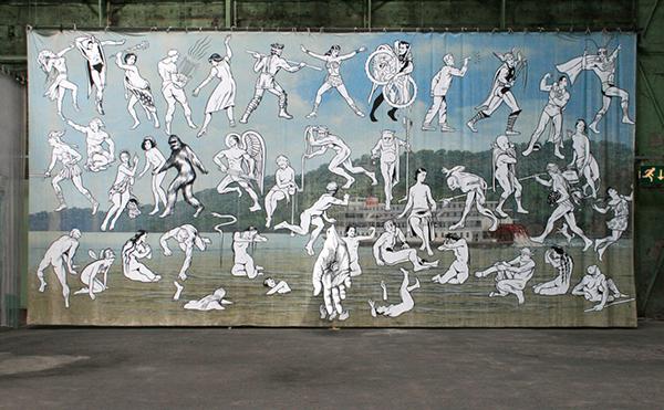 Jim Shaw - Mississippi River Mural - Acrylverf op mousseline met uitgeknipte vorm in acrylverf op mousseline