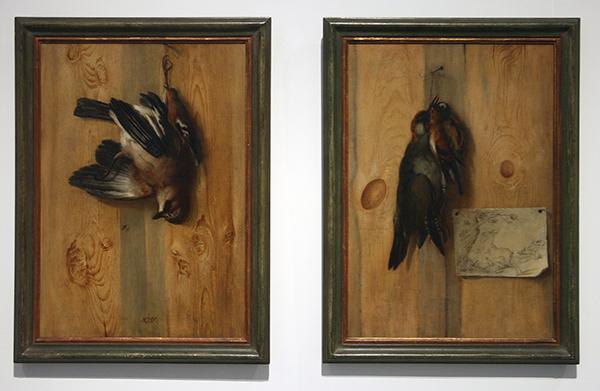 Johan Georg Waxschlunger - Twee Trompe-l'oeils met Vogels - Olieverf op doek, omstreeks 1700