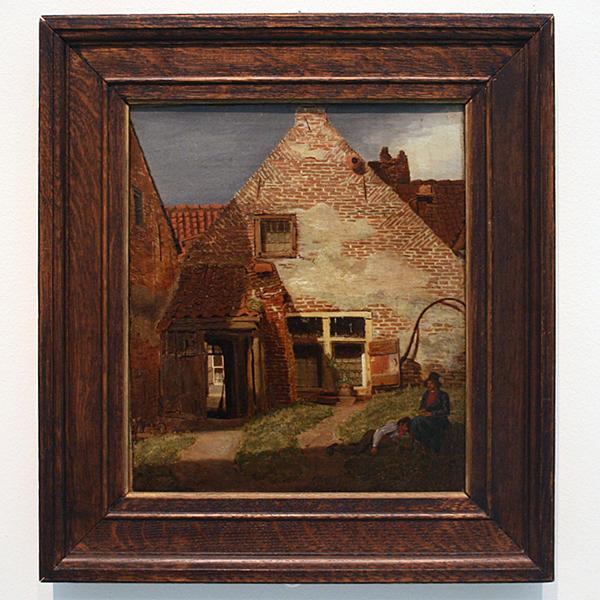 Johannes Franciscus Christ - Achtergevel van een Huis met Doorkijk in een Straat - Olieverf op doek