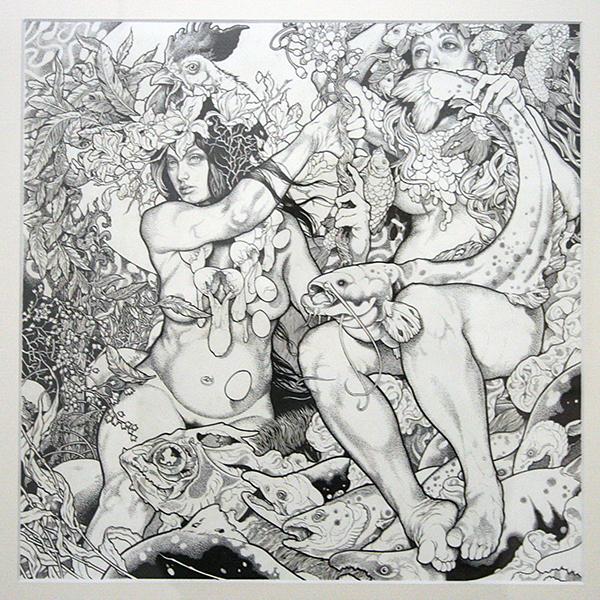 John Dyer Baizley - Blue - 36x36cm Indische inkt op papier