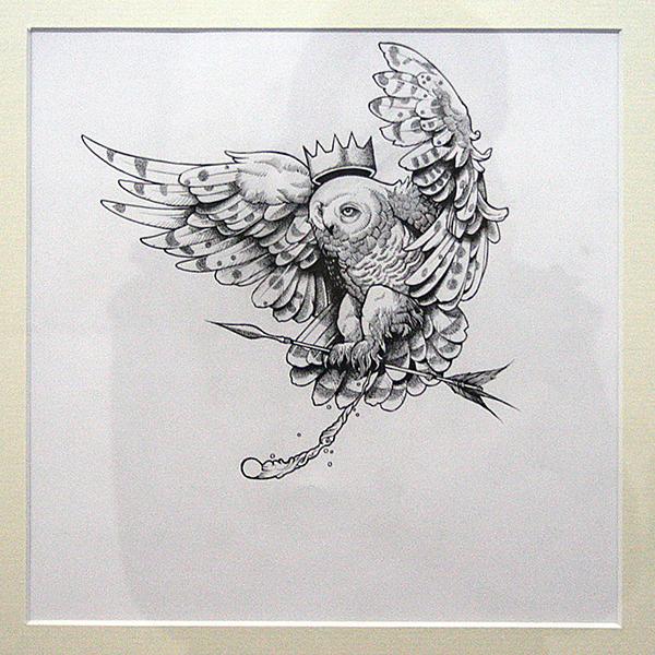 John Dyer Baizley - Owl King - 23x26cm inkt op papier