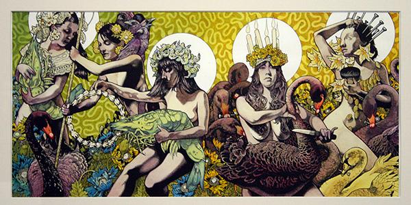 John Dyer Baizley - Yellow & Green - 67x32cm Inkt en waterverf op papier