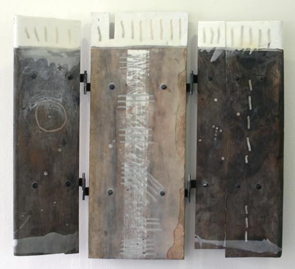 John O'Carrol - Ogam - 87x94cm Encaustiek op hout en metaal