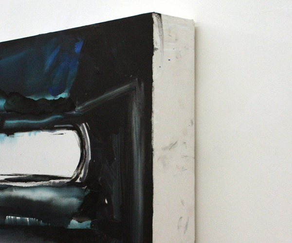 Jop Vissers Vorstenbosch - Honderduzentmiljoenmiljaar lumes daglicht - 100x430cm Olieverf en spuitbus op canvas (detail)