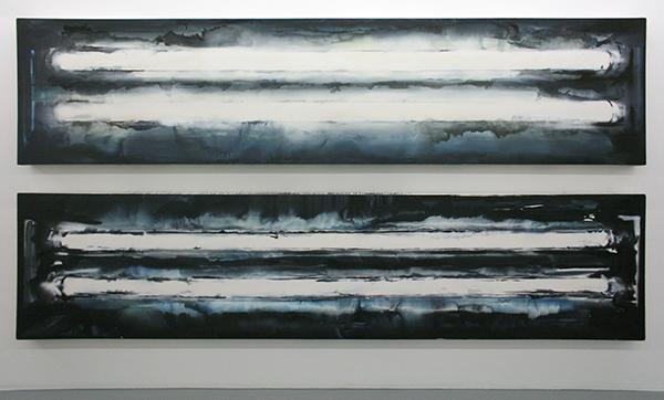 Jop Vissers Vorstenbosch - Honderduzentmiljoenmiljaar lumes daglicht - Tweeluik, 100x430cm Olieverf en spuitbus op canvas