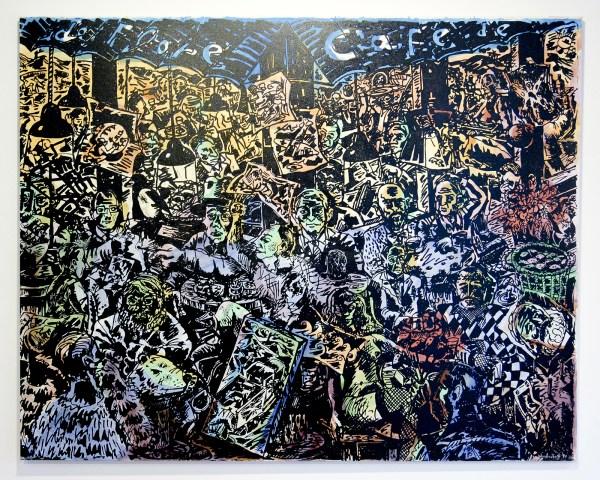 Jorg Immendorff - Cafe de Flore - Acrylverf op doek