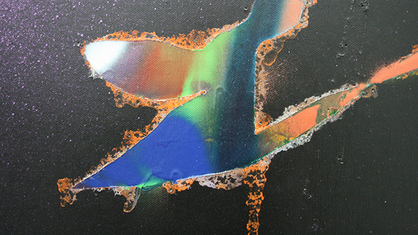 Katharina Grosse - Zonder Titel - Acrylverf op doek 2011 (detail)