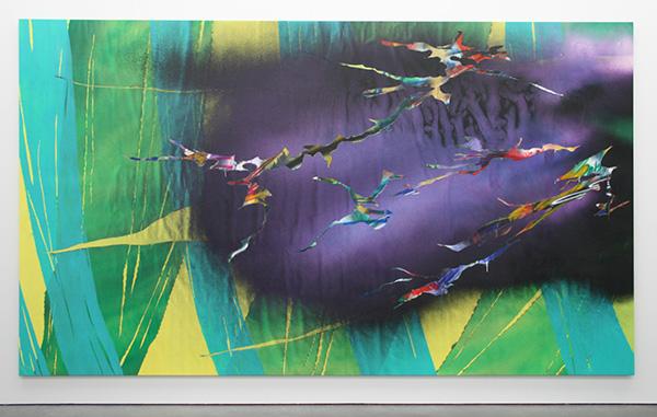 Katharina Grosse - Zonder Titel - Acrylverf op doek 2011
